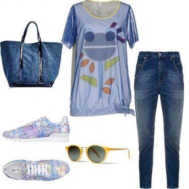 Outfit Jeans a spasso con cane