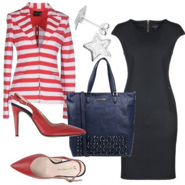 Outfit Giacca a righe bianche e rosse