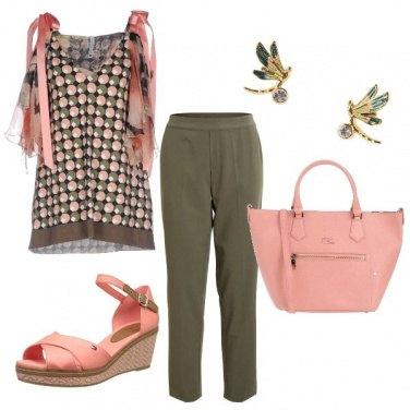 Outfit Rosa e kaki
