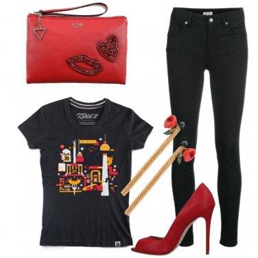 Outfit Serata in rosso e nero