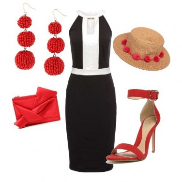 Outfit Look Bianco nero e rosso