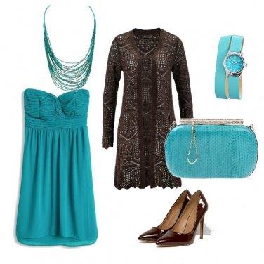 Outfit Turchese e cioccolato