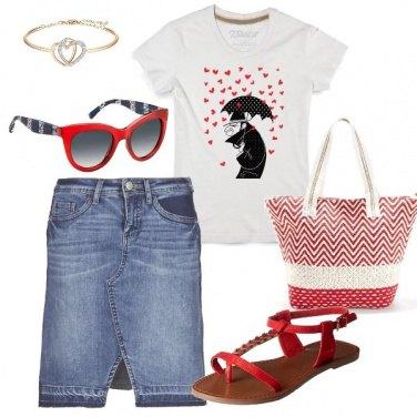 Outfit Cuori in rosso