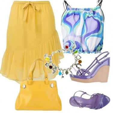Outfit Originale giallo e malva