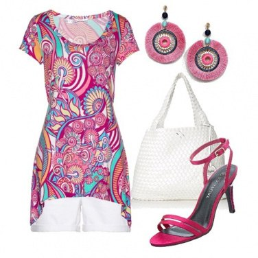 Outfit Orecchini rosa tribale