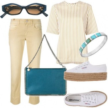 Outfit Sporty chic in beige e turchese