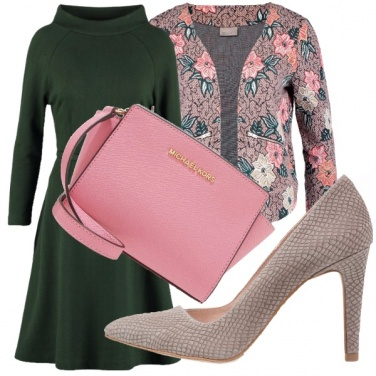 Outfit Verde, grigio & rosa