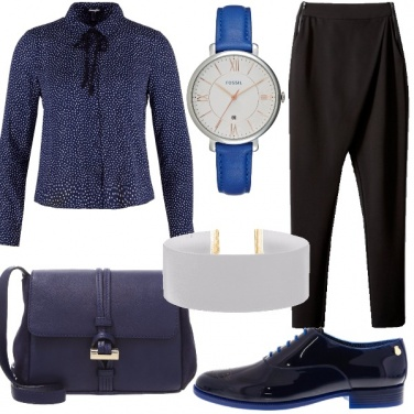 Outfit Contrasto nero&blu