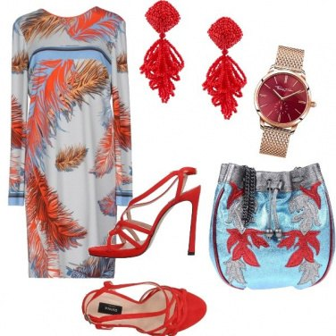 Outfit Rosso e azzurro