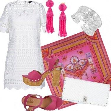 Outfit Fucsia e bianco