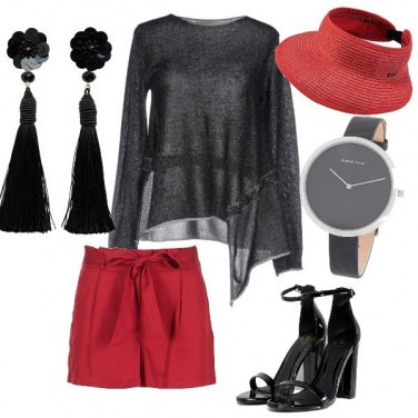 Outfit Look rosso e nero