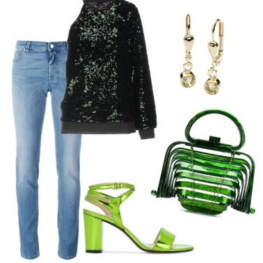 Outfit Denim e verde metallico