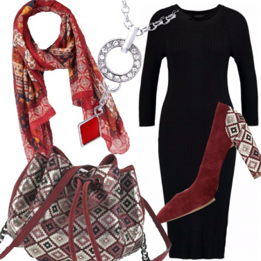 Outfit Rosso geometrie