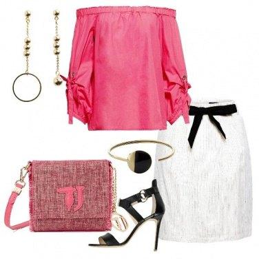 Outfit Bianco rosa e tocchi di nero