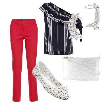 Outfit Rosso bianco e nero