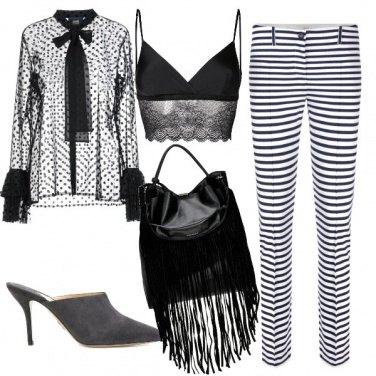 Outfit Bianco e nero, righe e pois