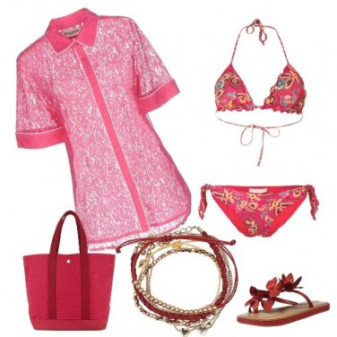 Outfit Pizzo rosa beach