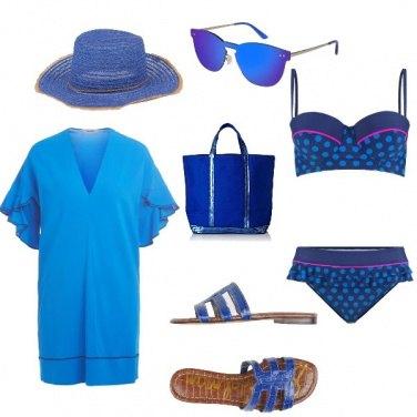 Outfit Pois blu beach
