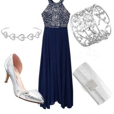Outfit Eleganza blu argento