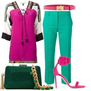 Outfit Verde e fucsia