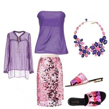 Outfit Paillettes rosa sotto e sopra