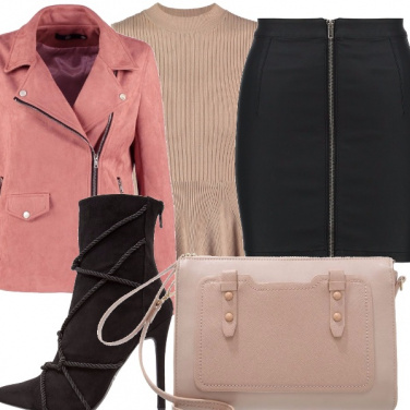 Outfit Rosa, beige e nero!