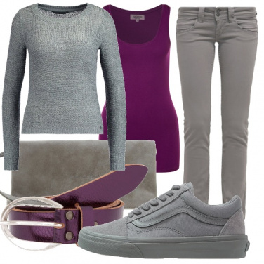 Outfit Purple&grey