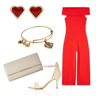 Outfit Jumpsuit rosso fragola