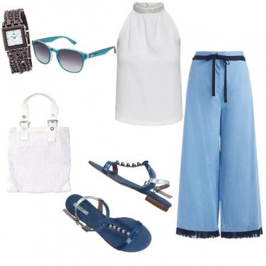 Outfit Trendy, bianco e azzurro