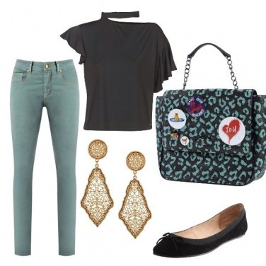 Outfit Apericena in green and black