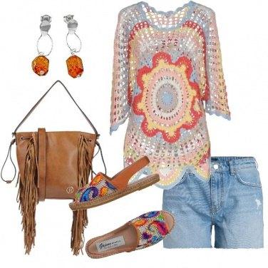 Outfit Maglia a crochet espadrillas ricamata
