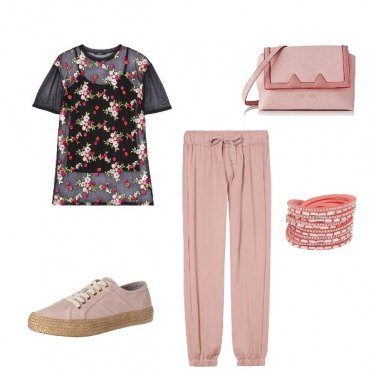 Outfit Floreale sport chic