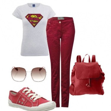 Outfit Rosso casual