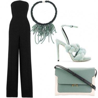 Outfit Nero e verde pastello
