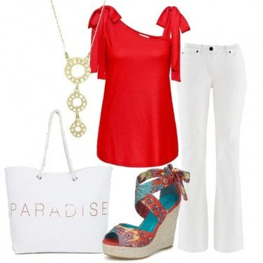 Outfit Jeans bootcut bianco top rosso