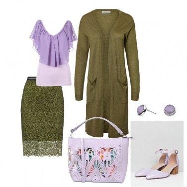 Outfit Viola e verde chic