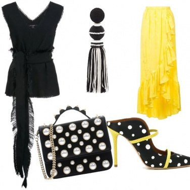 Outfit Pois e piuma