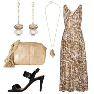 Outfit Vestito lungo panna e oro