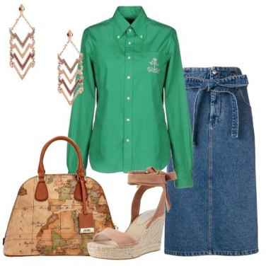 Outfit Camicia verde gonna in jeans