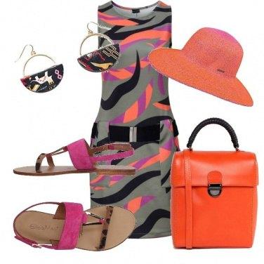Outfit Arancio e rosa chic
