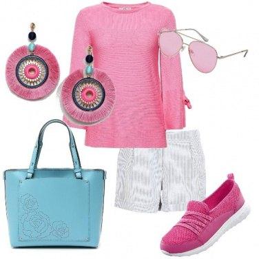 Outfit Celeste rosa fucsia