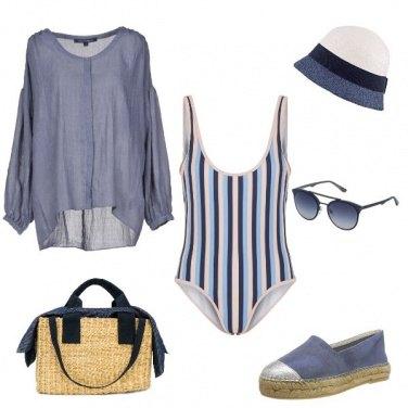 Outfit Look azzurro polvere beach