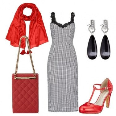 Outfit Rosso e vichy