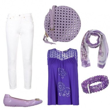 Outfit Bianco viola chic