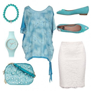 Outfit Turchese +pizzo bianco =chic
