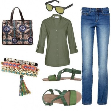 Outfit Etnico, ever green in jeans