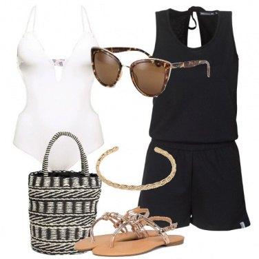 Outfit Playsuit nera intero bianco