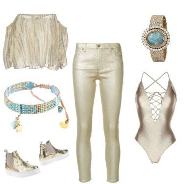 Outfit Gold girl disco