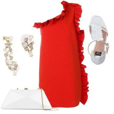 Outfit Sserata in bianco e rosso