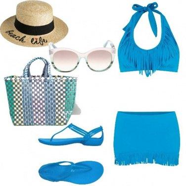 Outfit Basic, totalmente azzurro al mare